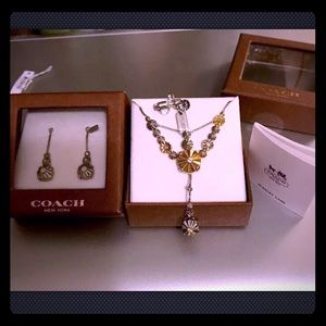Coach Rivet Daisy Floral Necklace & Earring Set